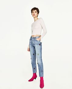 ZARA - WOMAN - HIGH WAISTED JEANS WITH GEMS