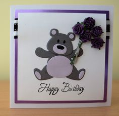 Handmade Birthday Card - Marianne Collectables Bear Die. For more of my cards please visit the CraftyCardStudio on Etsy.com.