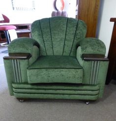 Art Deco chair ... stunning.  I could definitely cozy up and fall asleep in this chair (with an ottoman, of course)!