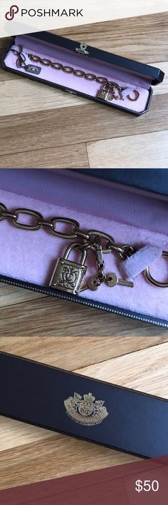 Juicy Couture Gold Lock and Key bracelet Like new worn once. In perfect condition and has original proce tags included and gift box. Toggle style chain bracelet Juicy Couture Jewelry Bracelets