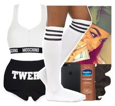 """""""Went to chick-fil-a den had to go back to school❤️❤️"""" by jjaylaspin ❤ liked on Polyvore featuring Victoria's Secret, &K, Vaseline and Moschino"""