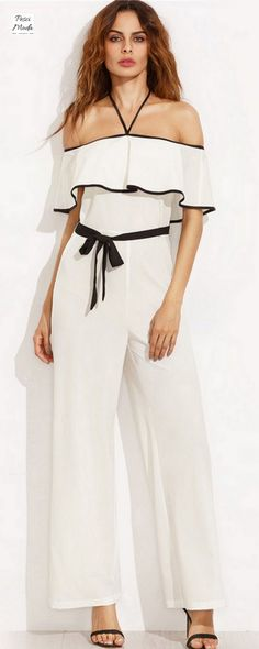 a5969a80406c Black and White Halter Long Jumpsuit