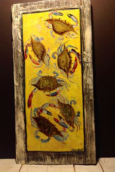 """Blue Crab painting on reclaimed pine 32"""" by 16"""" colorful whimsical detailed beach home decor cottage chic wall art Ocean Art centerpiece by oceanarts10 on Etsy"""