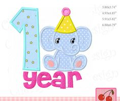 1 Year Baby Elephant Animal Machine Embroidery Applique Design - for 4x4 5x7 6x10 hoop by CherryStitchDesign on Etsy