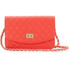 Urban Expressions Coral Sheena Quilted Crossbody ($25) ❤ Liked On Polyvore  Featuring Bags,