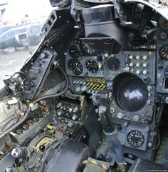 Cockpit of 1976 Hawker Siddeley Harrier Jump Jet Military Jets, Military Aircraft, Airplane History, Helicopter Cockpit, Flight Simulator Cockpit, Aircraft Interiors, Aircraft Parts, Combat Gear, Jet Engine