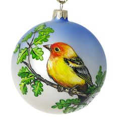 """Western Tanager"" Hand Painted Christmas Ball (Made in Ukraine)"