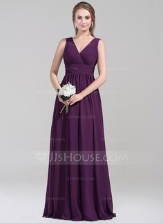 [US$ 117.49] Empire V-neck Floor-Length Chiffon Bridesmaid Dress With Ruffle (007072795)