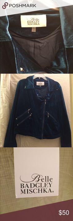Velvet Belle Badgley Mischka NWT biker jacket Deep teal velvet coat. Gun metal studs accenting this adorable coat. Zipper pockets size Lg  Bundle with vintage bag pictured andsave even more! Jackets & Coats