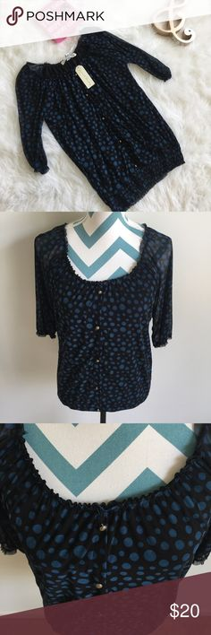 French Laundry Top Beautiful black top with blue polka dot details. Has sheer 3/4 sleeves and button down detail (buttons purely for decoration). Super stretchy and soft material. Has a stretchy neckline and bottom. Made with 95% polyester and 5% spandex. Has a loser fit that is super comfortable. Bust measures 36 inches and total length is 24 inches. New with tags! French Laundry Tops