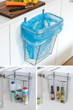 Un panier multifonctions pratique et fonctionnel pour la cuisine, à suspendre à l'intérieur ou à l'extérieur de la porte d'un placard pour gagner des espaces de stockage et de rangement ou tout simplement pour collecter les épluchures et les déchets alimentaires