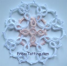 Ornament with two separate rings interwoven. Looks like it can be done with 1 shuttle and a ball, or 2 shuttles.
