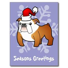 Christmas Bulldog (red and white) Postcard