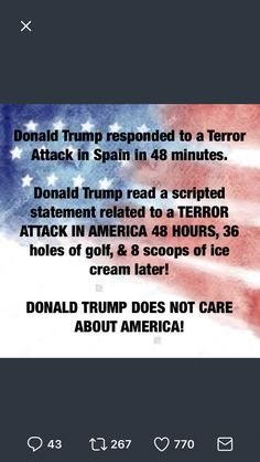 Trump responded faster, more forcefully and with no equivocation to a terrorist attack in Spain than one just preceding it in the United States.
