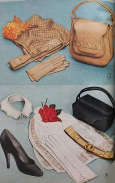 Explore the many styles of handbags, purses, day and evening bags. Leather hobo, Lucite box bags, straw basket and fun novelty shapes. Vintage Fur, Vintage Purses, Vintage Vogue, Vintage Bags, Vintage Shoes, Vintage Accessories, Vintage Outfits, Vintage Style, Retro Vintage