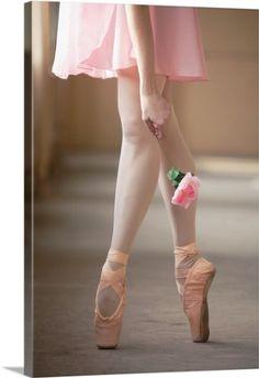 Premium Thick-Wrap Canvas Wall Art Print entitled Woman in En Pointe Ballet pose., None
