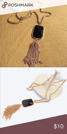 Kendra Tassel Black Stone Chain Necklace This Kendra Scott look alike has ALL the charm at a fraction of the cost. Stone & tassel measure 4 inches in length. Jewelry Necklaces