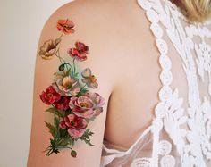 Große Vintage floral temporäre Tattoo / temporäres Tattoo Blume / Boho temporäres tattoo / tattoo Blumen gefälschte / böhmische temporäres tattoo