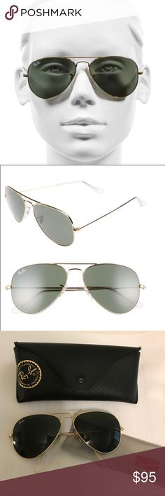 100% Authentic Ray•Ban Aviator Classic Iconic aviator gold/green model. Frame: gold metal. Lens: crystal green, G-15 polarized. Size Lens: 58 14. Only worn 2-3 times. No scratches. Excellent condition! Taking offers. Ray-Ban Accessories Sunglasses