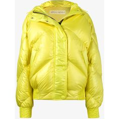 Ienki Ienki Yellow Dunlop Hooded Puffer Jacket ($1,270) ❤ liked on Polyvore featuring outerwear, jackets, puffy jacket, yellow jacket, yellow puffer jacket and puffer jacket