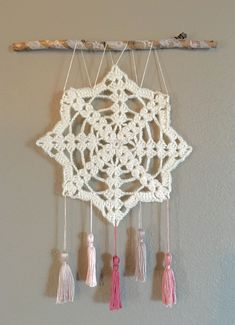 Crochet wall hanging, wall decor, doily art, shabby chic wall art with tassels, dream catcher Browning Symbol, Hanging Wall Art, Diy Wall Art, Wall Decor, Bedroom Decor, Bedroom Ideas, Shabby Chic Wall Art, Doily Dream Catchers, Doily Art