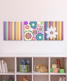 Take a look at this Color Pop Stripes & Dots Canvas - Set of Three by GiggleDots on #zulily today!