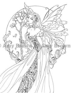 Amy Brown Fairy Myth Mythical Mystical Legend Elf Fairy Fae Wings Fantasy Elves Faries Sprite Nymph Pixie Faeries Hadas Enchantment Forest Whimsical Whimsy Mischievous Coloring pages colouring adult detailed advanced printable Kleuren voor volwassenen coloriage pour adulte anti-stress kleurplaat voor volwassenen Line Art Black and White