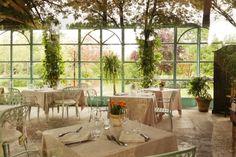 greenhouse restaurant, shabby chic, interior photography