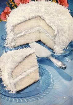 Coconut Queen Party Cake With Marshmallow Frosting (1950 recipe)