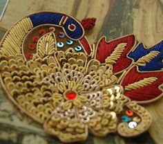 Peacock blue and raspberry hand embroidered bullion by baubletjes