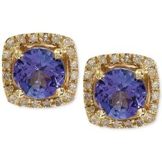 Violette by Effy Tanzanite (9/10 ct. t.w.) and Diamond (1/8 ct. t.w.)... ($485) ❤ liked on Polyvore featuring jewelry, earrings, no color, 14k yellow gold earrings, stud earrings, tanzanite stud earrings, 14k gold jewelry and gold diamond earrings