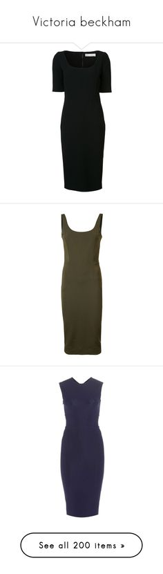 """Victoria beckham"" by bappple ❤ liked on Polyvore featuring dresses, black, tight dresses, victoria beckham dresses, victoria beckham, fitted dresses, green, green color dress, green fitted dress and brown dress"