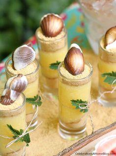 tropical party desserts - mini coconut creme parfaits