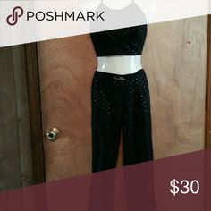 Black  halter  top and  matching  pants Great  condition size  9 medium Pants Straight Leg