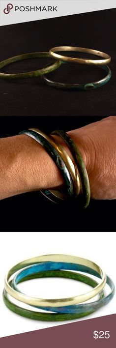 """Kenneth Cole """"urban patina"""" bangles. Kenneth Cole """"urban patina"""" boho chic bangles. I love these bangles! Jeans a white shirt and these bangles!! That's all you need! Kenneth Cole Jewelry Bracelets"""