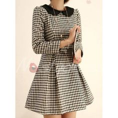 Sweet Peter Pan Collar Houndstooth Waisted Long Sleeves Blended Women's Dress