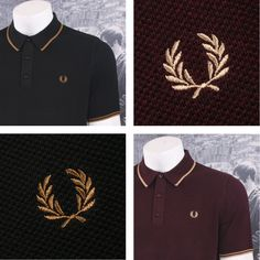 fd180db91 Fred Perry Mod 60 s Laurel Wreath Waffle Knit Tipped Polo Shirts