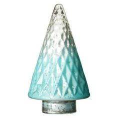 9 Inch teal and mercury glass Christmas tree decor.
