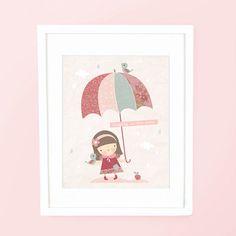 Singing In The Rain - A4 nursery art print poster baby girl room decor children's illustration pink pretty umbrella bird patchwork