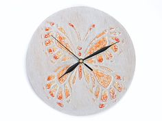 UNIQUE butterfly WALL CLOCK, white peach orange decor wooden clock handmade toddler room decor home decor gifts for girl wall decor