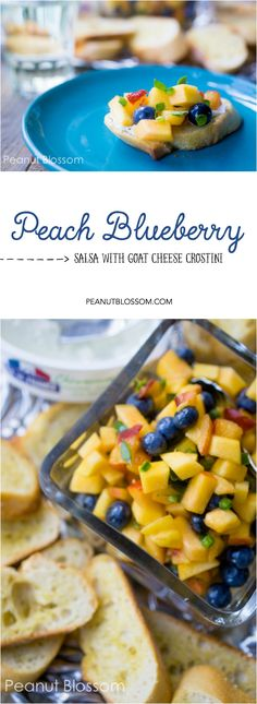 "Perfect for using up the summer's farmer's market produce!! This fresh peach blueberry salsa has a kick with just a little jalapeño but is cool and creamy thanks to the goat cheese. An elegant appetizer for your next summer party or for dinner ""just because""!"