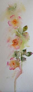 ???like the shape and washed out look?? Watercolours With Life: Wild Roses by Jean Haines