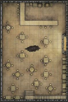 Staggered Goat battlemap from IDW DD comic Bad Day Module Edition Fantasy City, Fantasy Map, Medieval Fantasy, Dungeon Tiles, Dungeon Maps, Pathfinder Maps, Rpg Map, Map Layout, Adventure Map