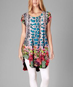 Look at this #zulilyfind! Blue & Red Jungle Rounded-Hem Tunic - Plus #zulilyfinds