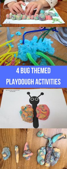4 bug themed playdough activities for children, preschoolers, toddlers and homeschoolers. Really easy and simple creative activities with oportunities to learn and practice some maths and science skills and well as fine motor skills and creativity.
