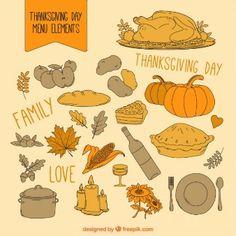 Elementos de menú de acción de gracias