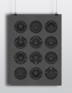 LE Geometric Dark Grey and Black Screen Print One Of A Kind