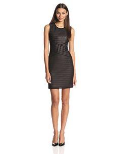 Calvin Klein Women's Ribbed Sheath Dress, Black, 10