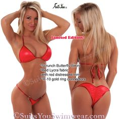 Limited Edition Red lycra butterfly swimsuit, great for photo shoots or a fun weekend getaway. Model Kimberly Jade
