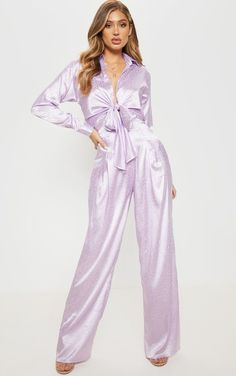 The Lilac Satin Jacquard Wide Leg Trouser. Head online and shop this season's range of trousers at PrettyLittleThing. Express delivery available. High Waisted Culottes, High Waisted Flares, Satin Pyjama Set, Satin Pajamas, Satin Jumpsuit, Strappy Crop Top, Flare Leg Pants, Satin Blouses, Wide Leg Trousers